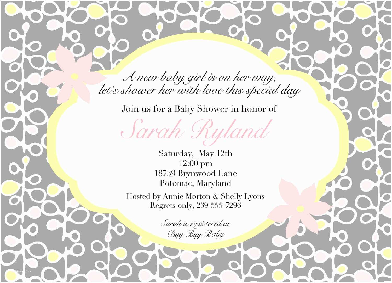 Baby Shower Invitation Templates Wording for Baby Shower Invitations asking for Gift Cards