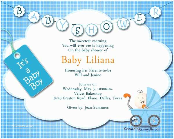 Baby Shower Invitation Wording For A Boy Baby Shower Party Invitation Wording Wordings And