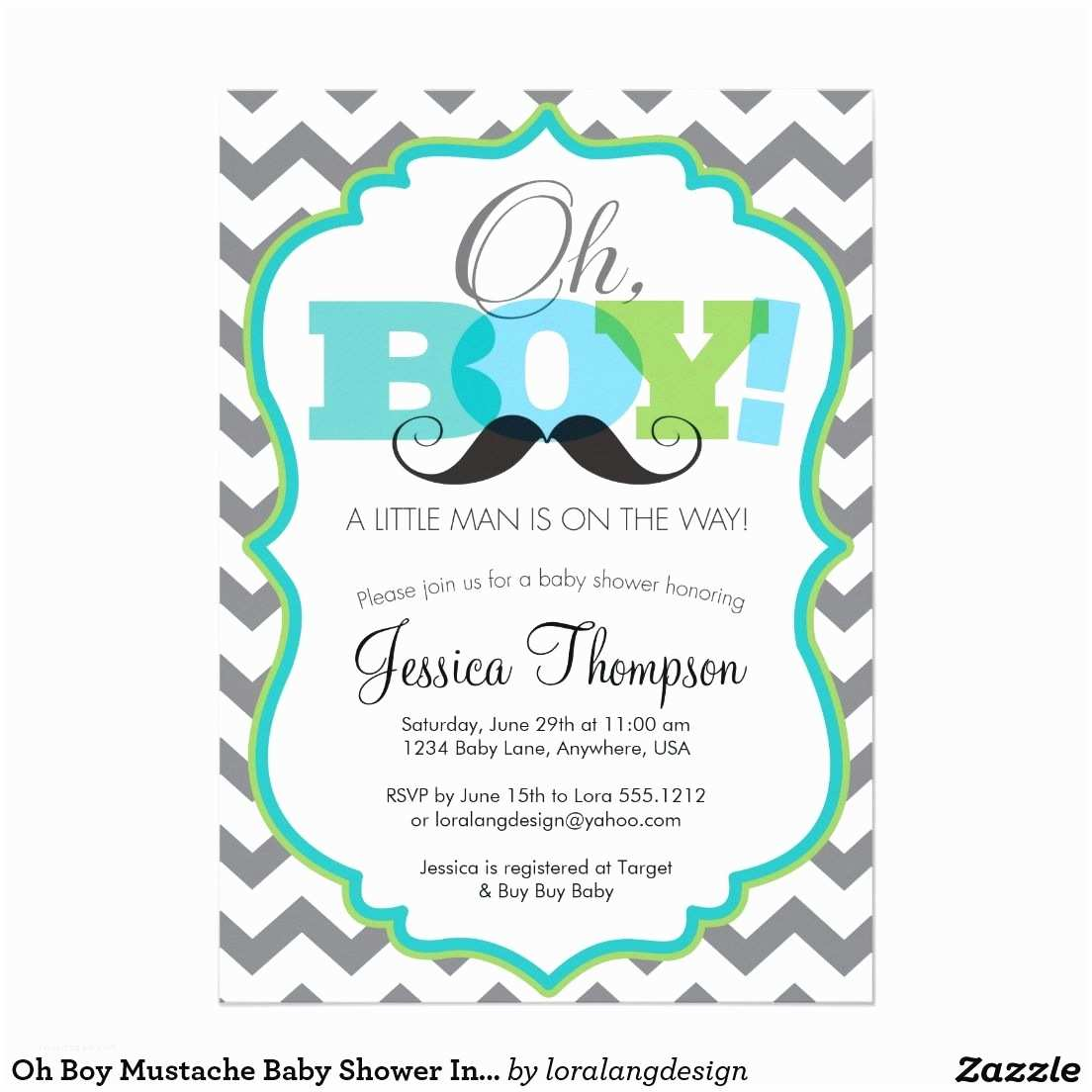 """Baby Shower  Wording For A Boy Oh Boy Mustache Baby Shower  5"""" X 7"""""""