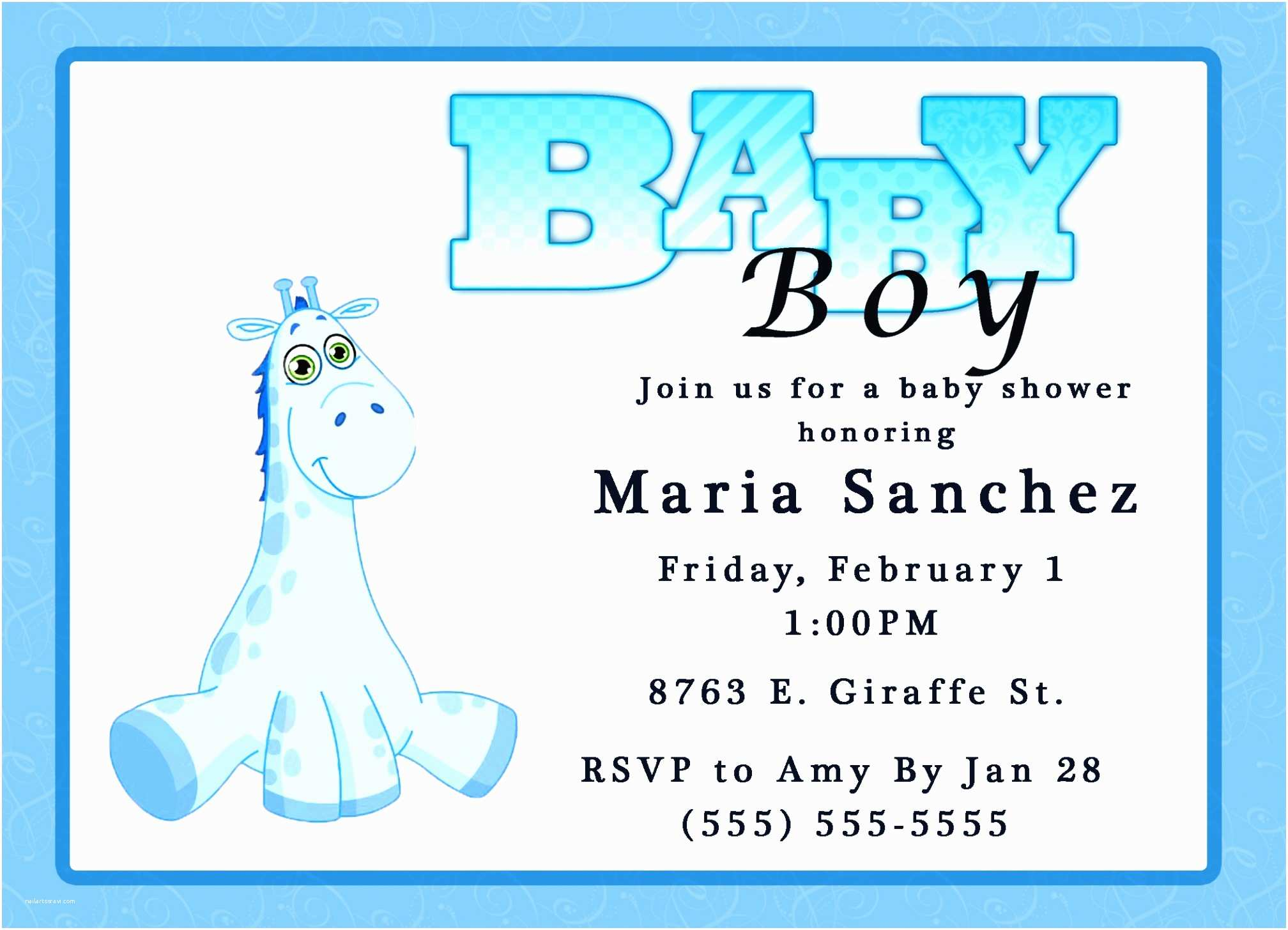 Baby Shower Invitation Wording for A Boy Printable Baby Shower Invites Template Resume Builder