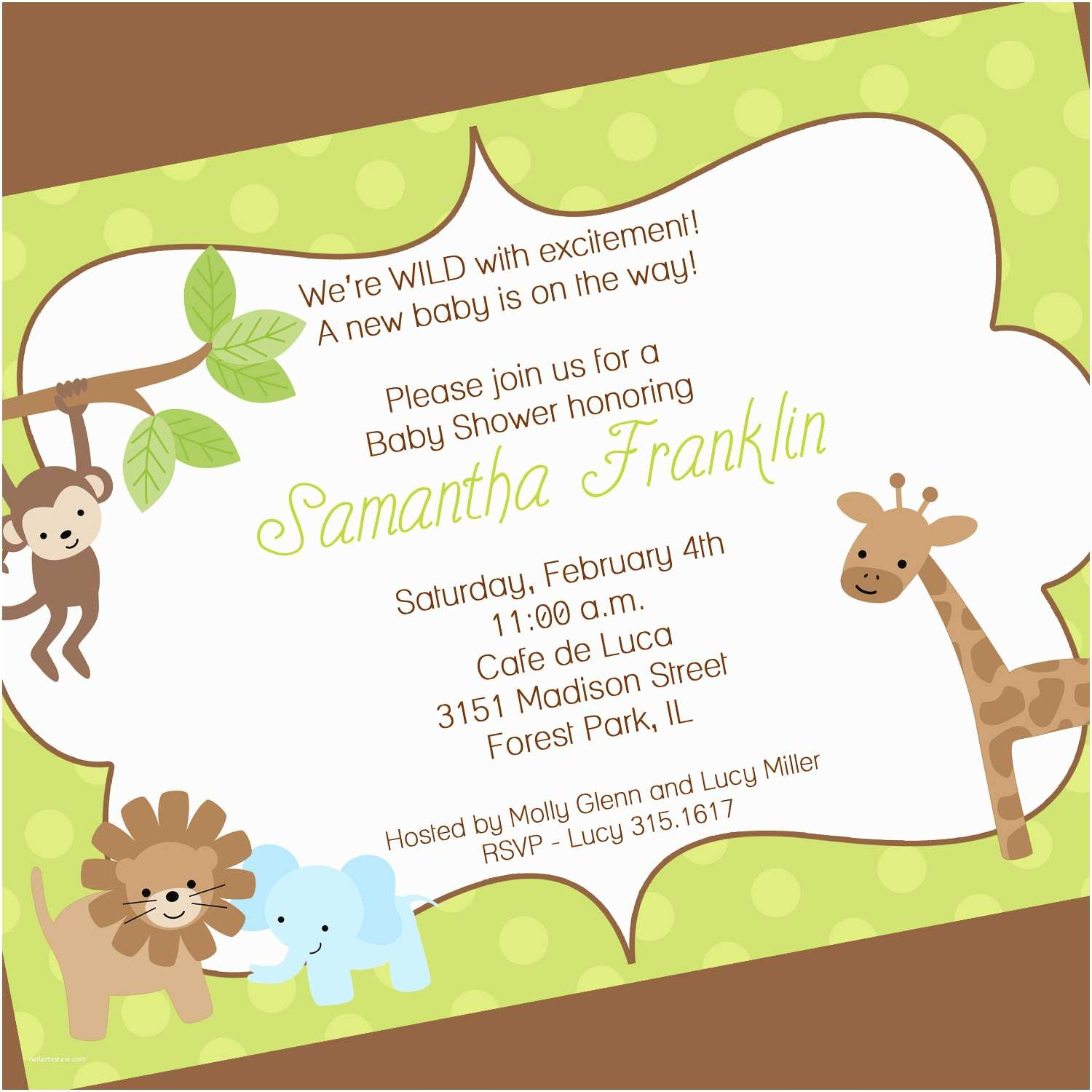 Baby Shower Invitation Wording Jungle theme Baby Shower Invitation Wording