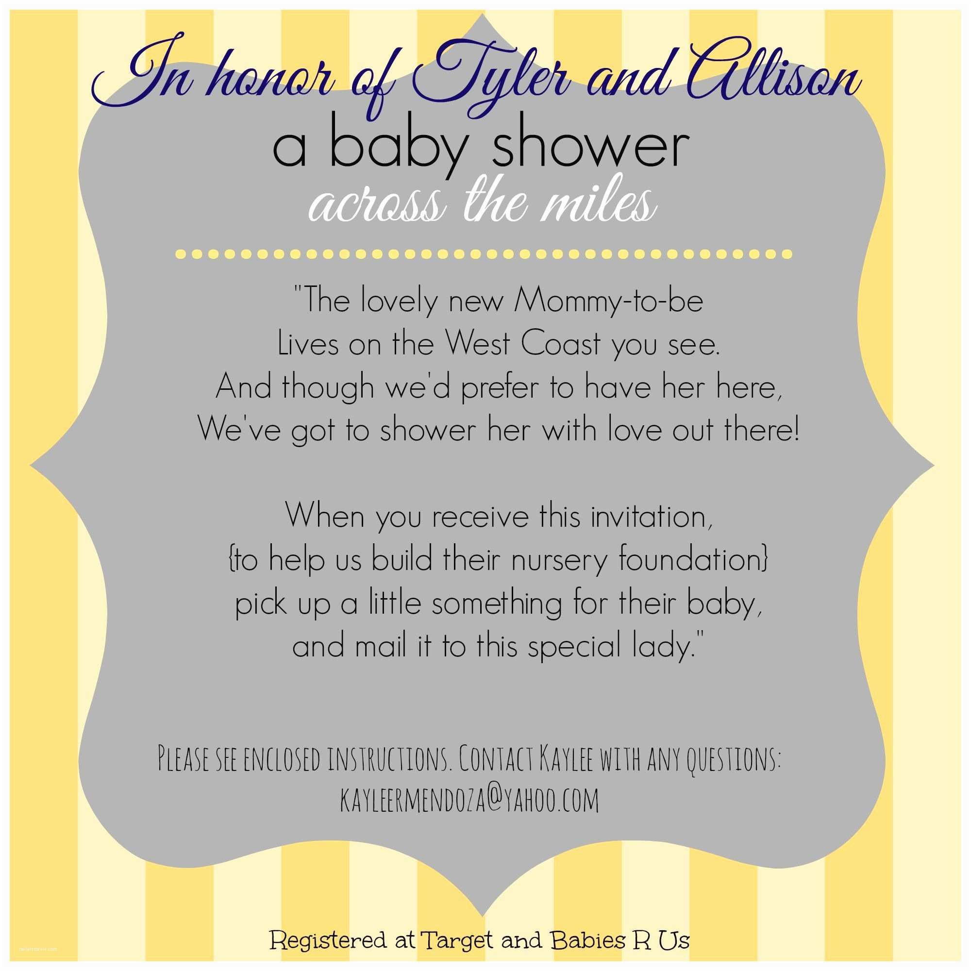 Baby Shower Invitation Wording Long Distance Baby Shower Invitation Virtual Baby Shower