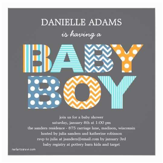 Baby Shower Invitations for Boy Cutout Letters Baby Shower Invitation Boy