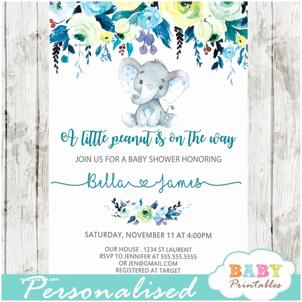 elephant baby shower invitations boy floral teal blue d432