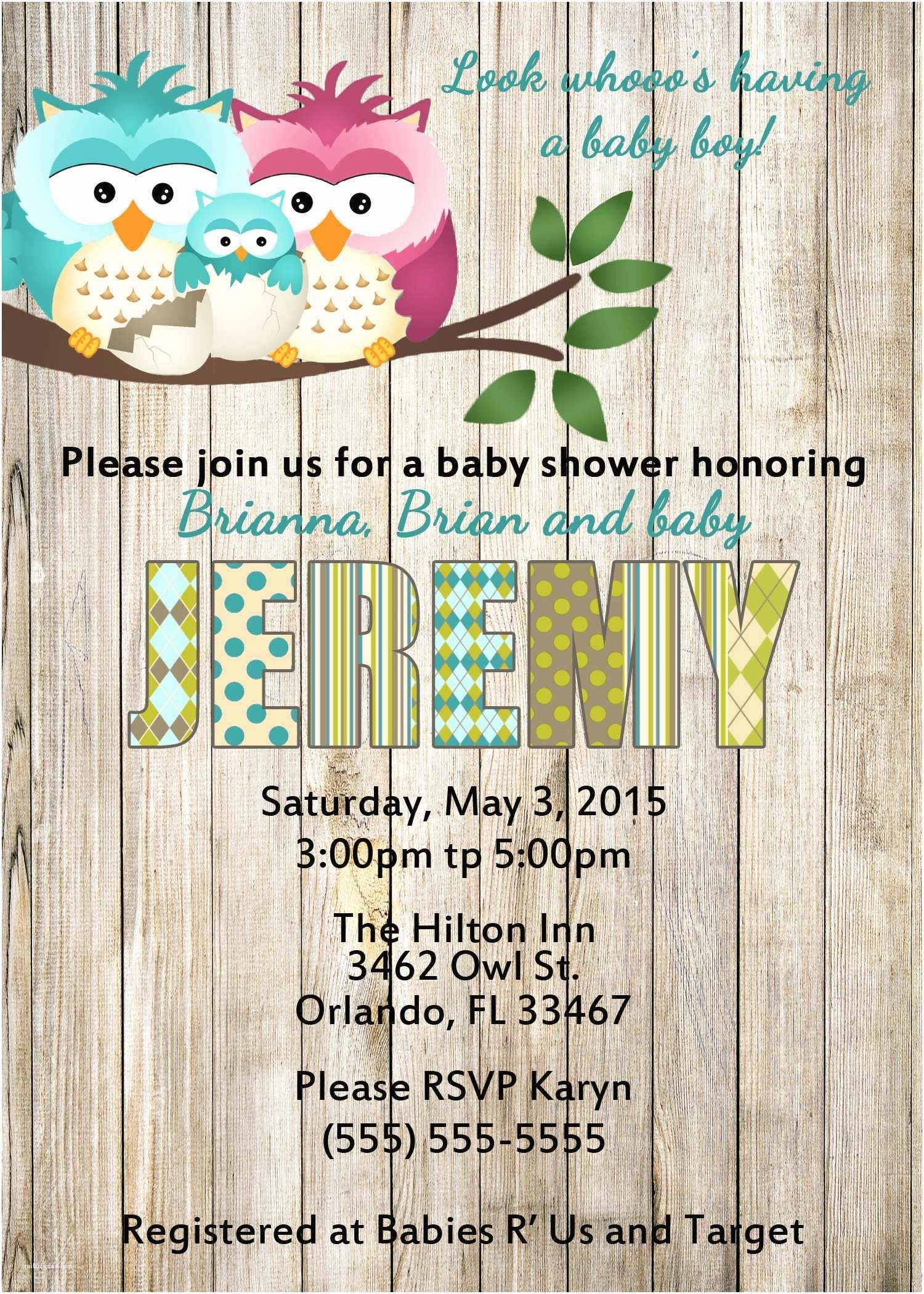 Baby Shower Invitations for Boy Owl Baby Shower Invitations
