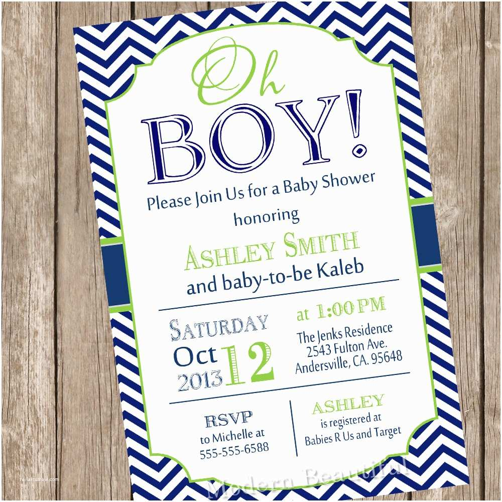 Baby Shower Invitations for Boys Oh Boy Baby Shower Invitation Navy and Lime Green Chevron