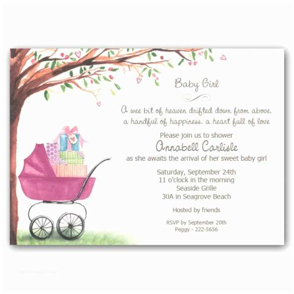 Baby Shower Invitations for Girls Foliage Girl Carriage Baby Shower Invitations Clearance