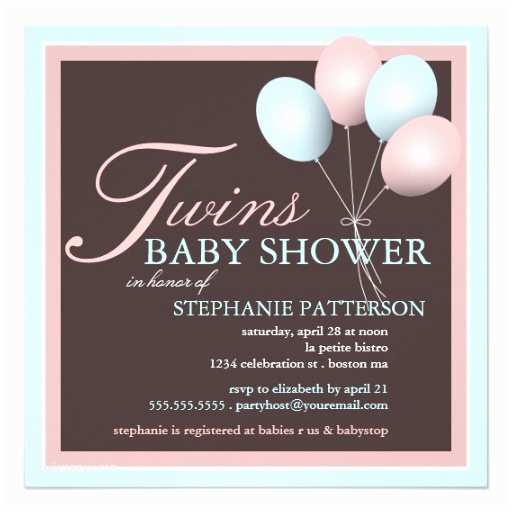Baby Shower Invitations for Twins Elegant Baby Balloon Twins Baby Shower Invitation