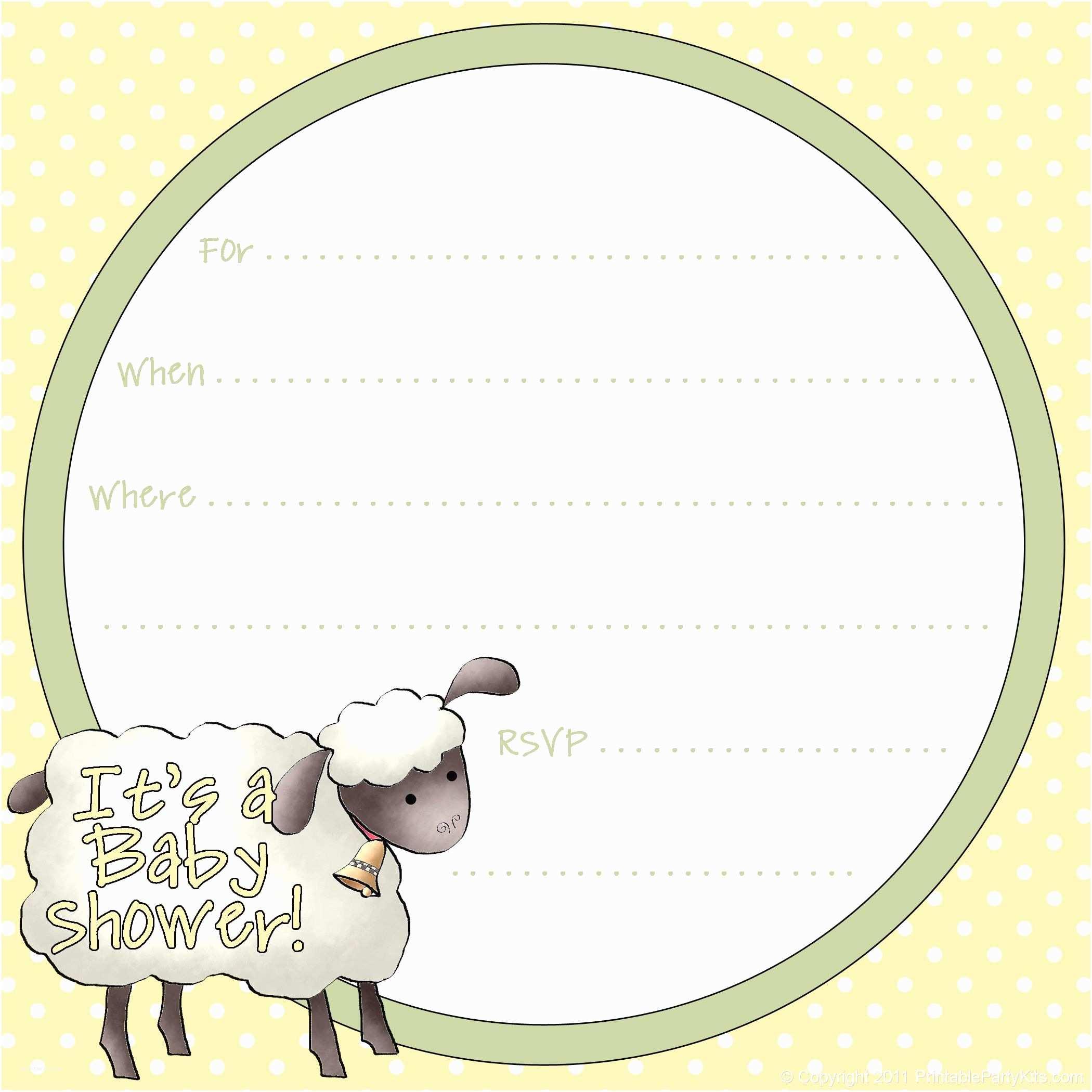 Baby Shower Invitations Free Free Sheep