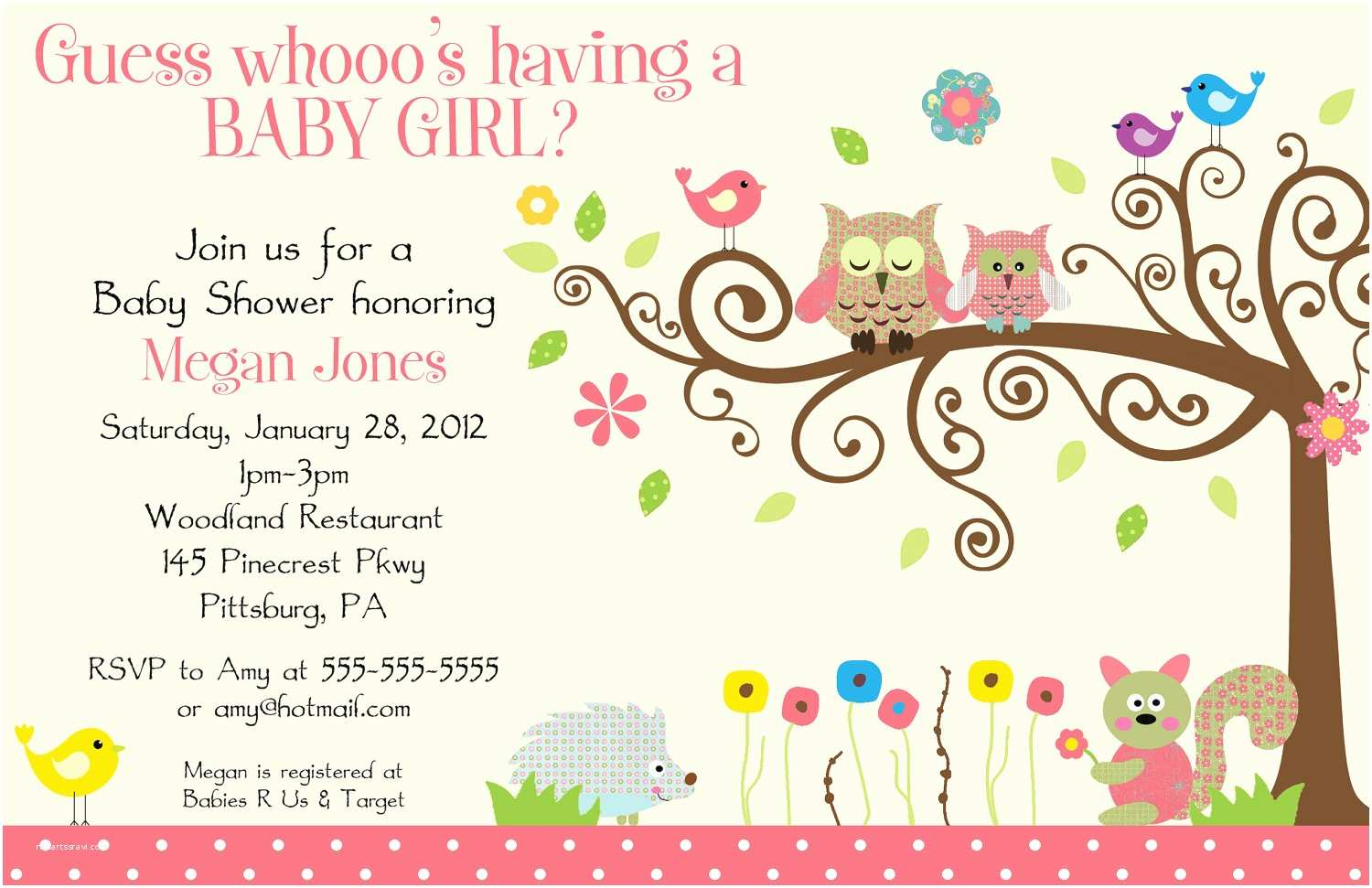 Baby Shower Invitations Girl Baby Shower Invitations for Girl Template