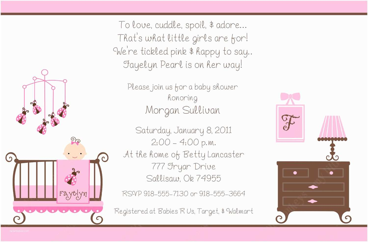 Baby Shower Invitations Girl Free Baby Shower Invitations for Girls