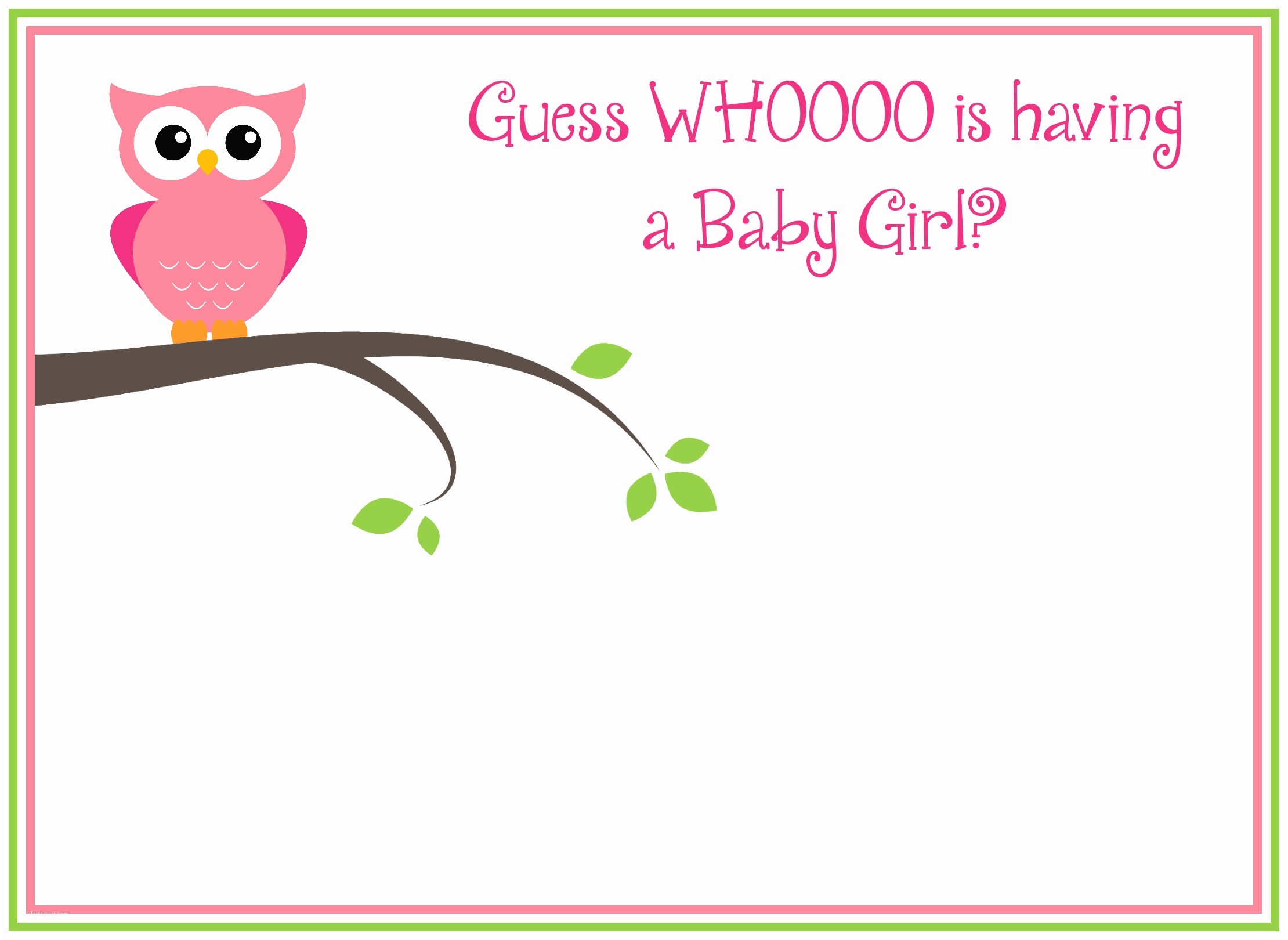 Baby Shower Invitations Girl Free Printable Girl S Owl Baby Shower Invitations