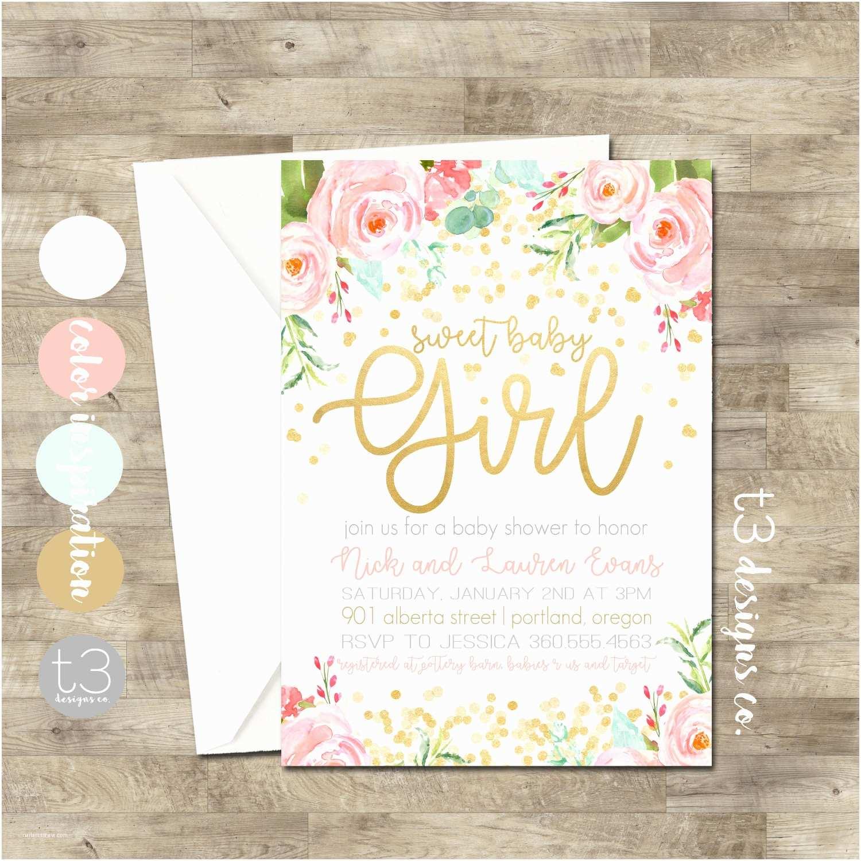 Baby Shower Invitations Girl Gold Confetti Baby Shower Invitation Girl Baby Shower