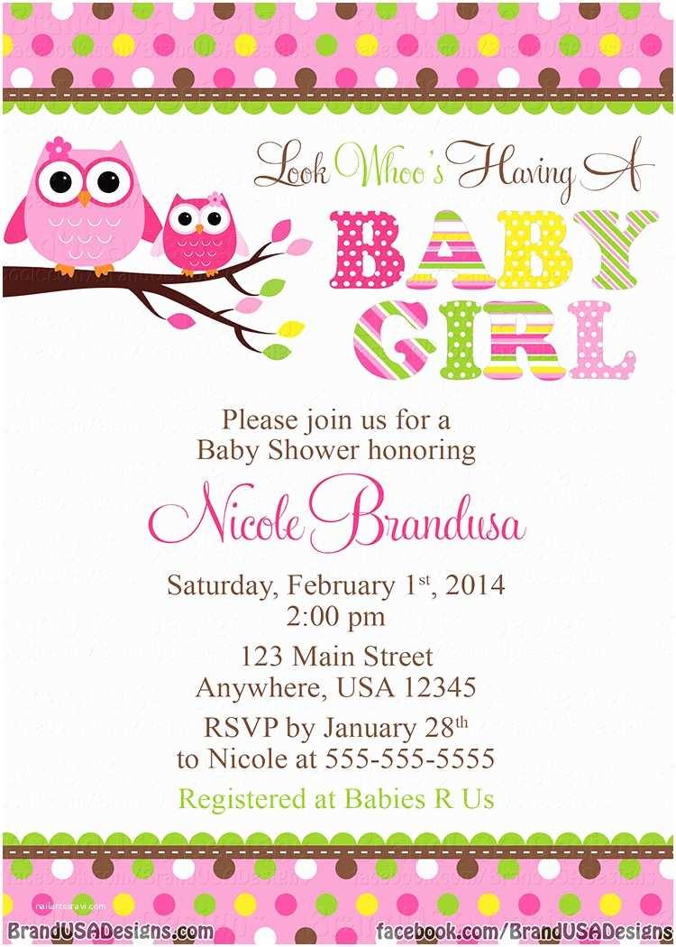 Baby Shower Invitations Girl Owl Baby Girl Shower Invitations