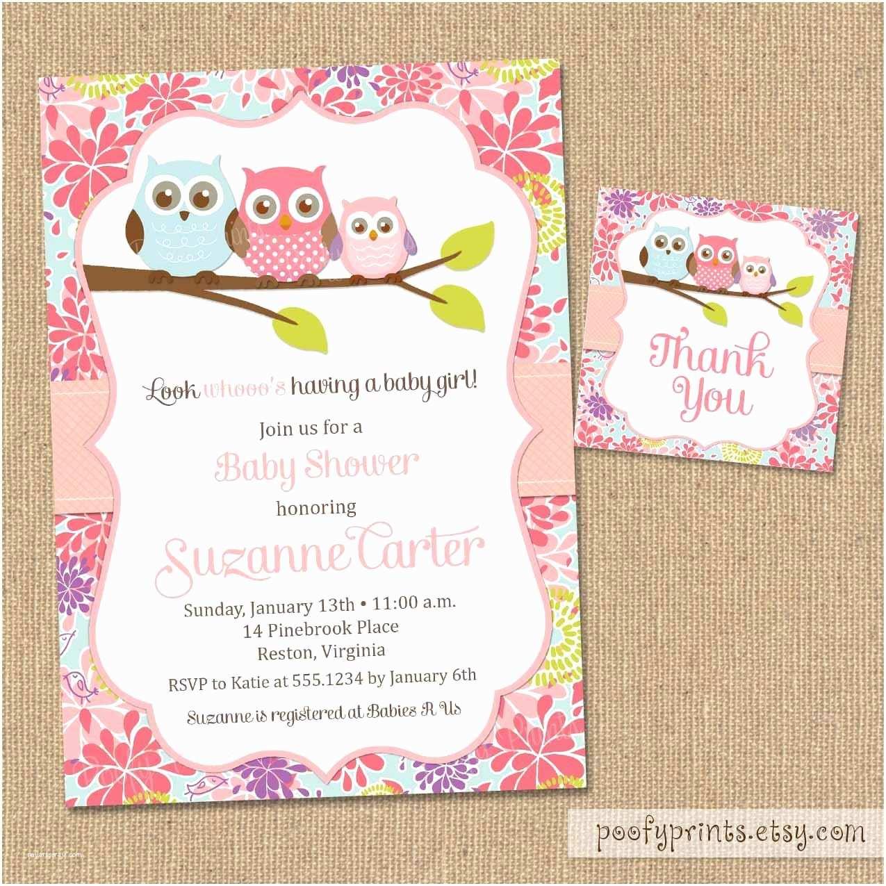 Baby Shower Invitations Girl Owl Baby Shower Invitations Diy Printable Baby Girl