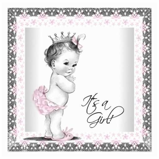 Baby Shower Invitations Girl Pink and Gray Vintage Baby Girl Shower Invitation Ladyprints