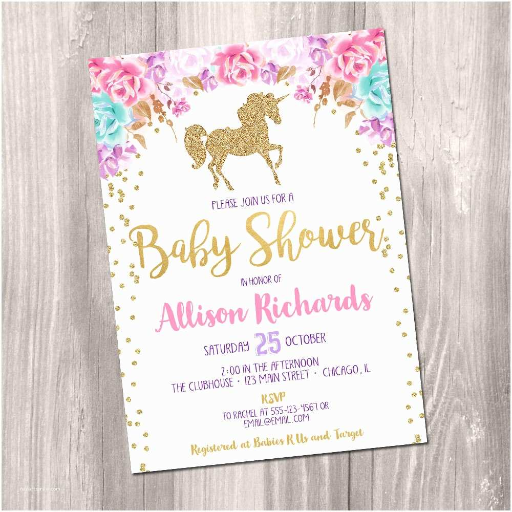 Baby Shower Invitations Girl Unicorn Baby Shower Invitation Girl Baby Shower Invitation