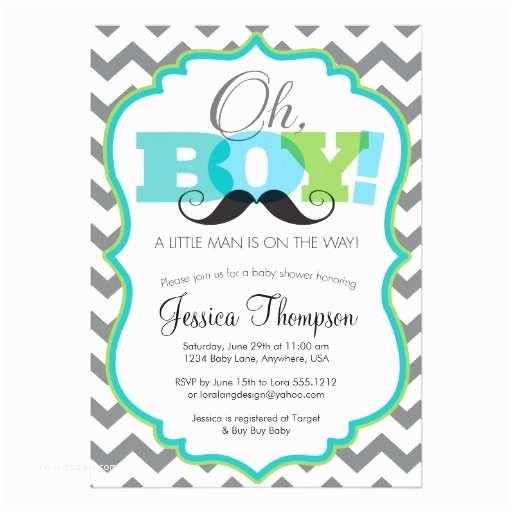 Baby Shower Invitations Ideas for Boys Oh Boy Mustache Baby Shower Invitation
