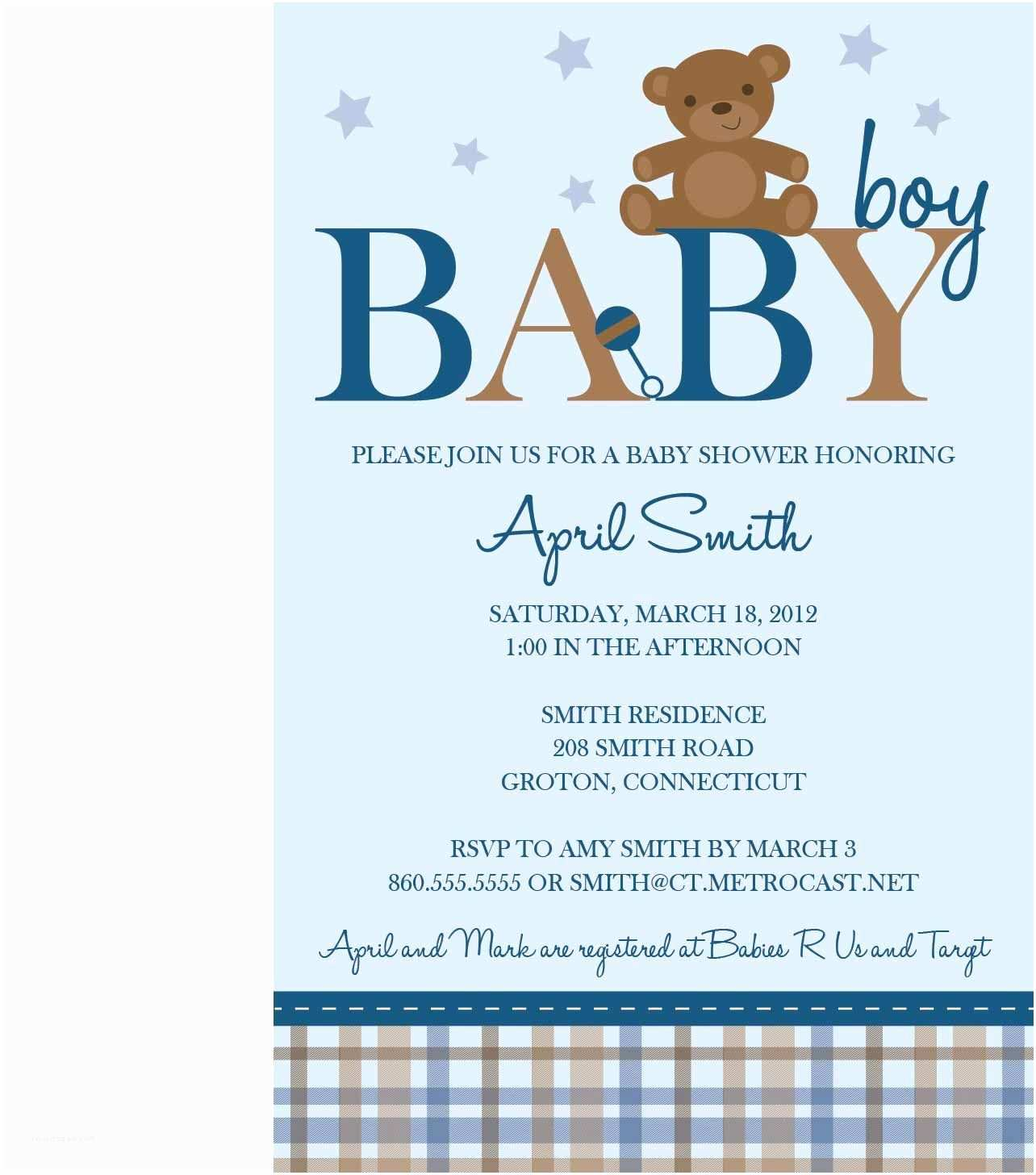 Baby Shower Invitations Ideas for Boys Teddy Bear Baby Shower Templates