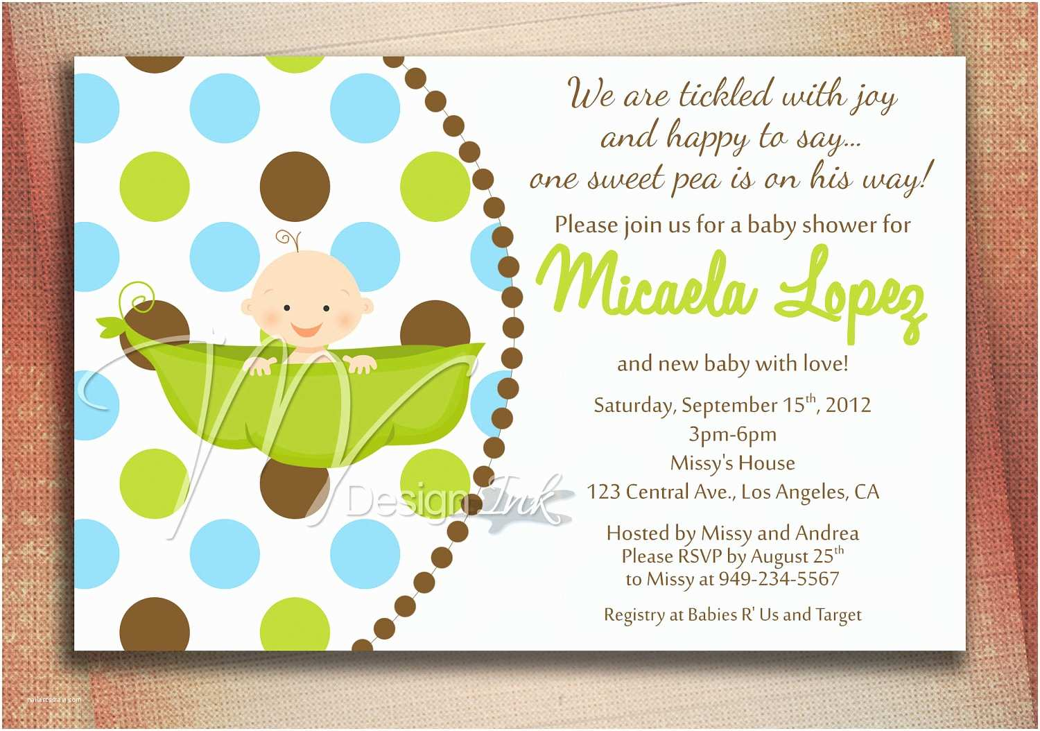 Baby Shower Invitations Pea In A Pod Baby Shower Invitation Baby In A Pod by