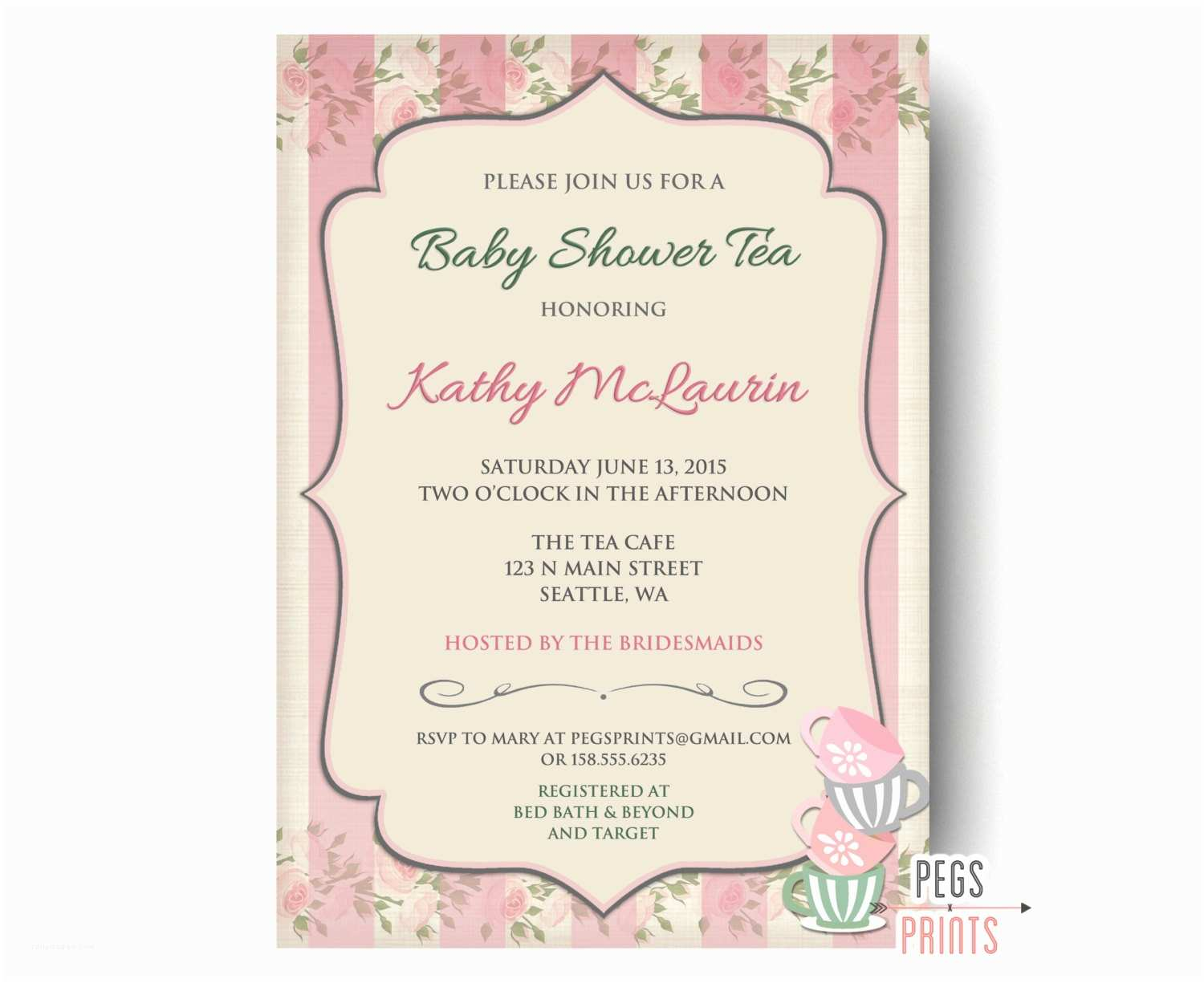 Baby Shower Tea Party Invitations Baby Shower Tea Party Invitation Printable Baby Shower