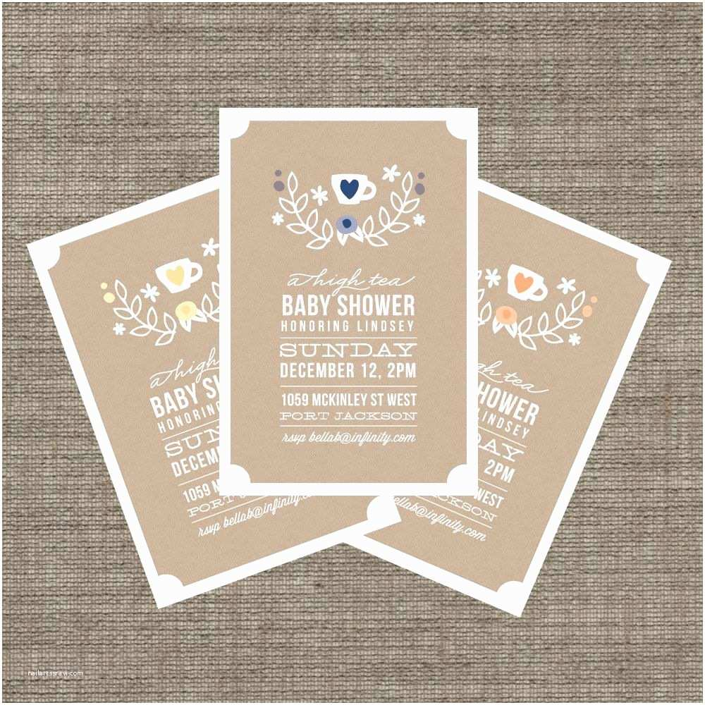 Baby Shower Tea Party Invitations High Tea Baby Shower Invitation Tea Party Invite for