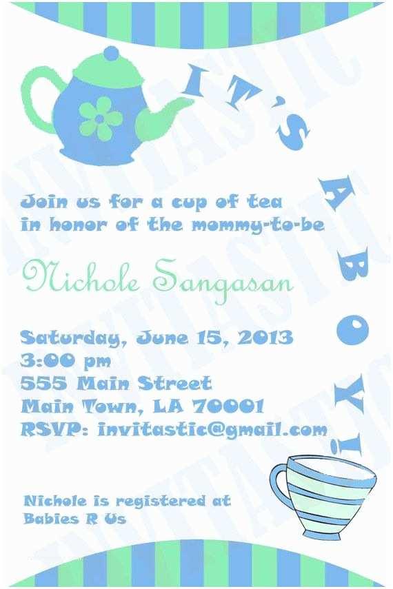 Baby Shower Tea Party Invitations Pinterest