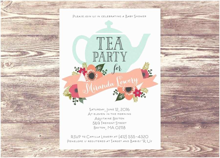 Baby Shower Tea Party Invitations Printed Baby Shower Tea Party Invitation Custom