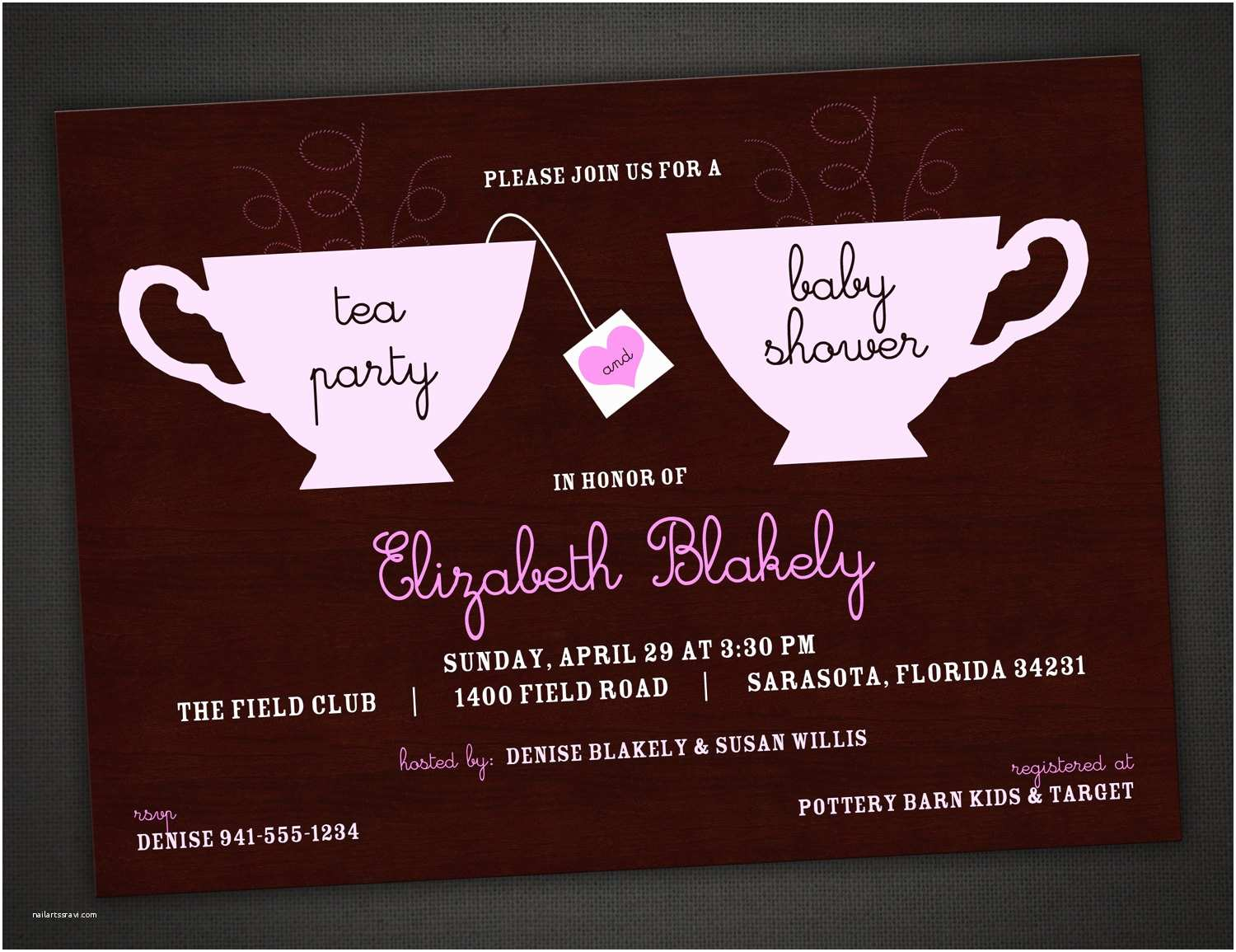 Baby Shower Tea Party Invitations Printed Invitation Tea Party Baby Shower by Idesignthat On