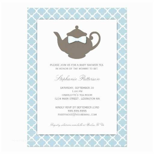 Baby Shower Tea Party Invitations Sweet Blue