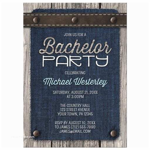 Bachelor Party Invitations Bachelor Party Invitations Denim Wood Leather Rustic