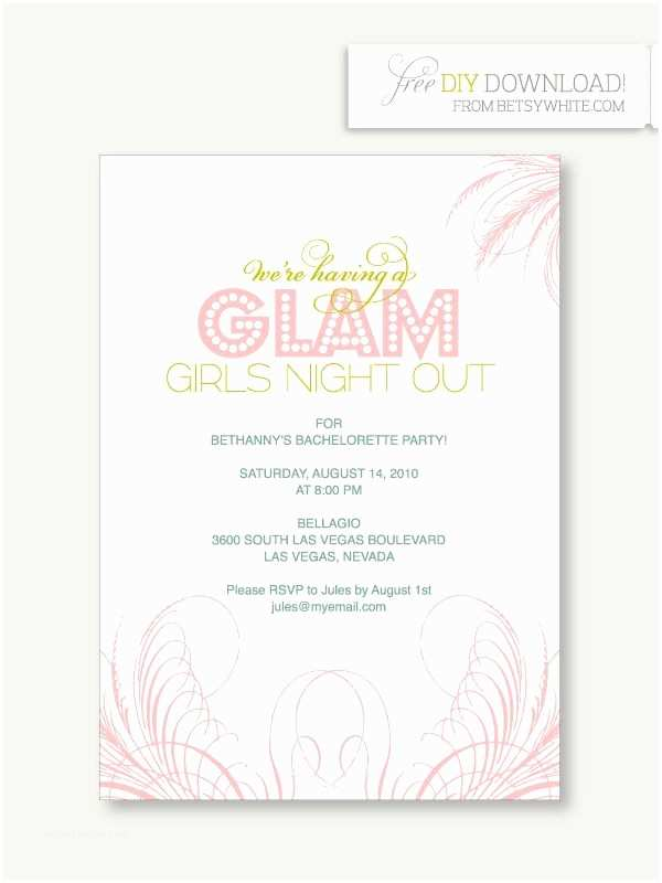Bachelorette Party Invitation Wording Glam Girls Night Out