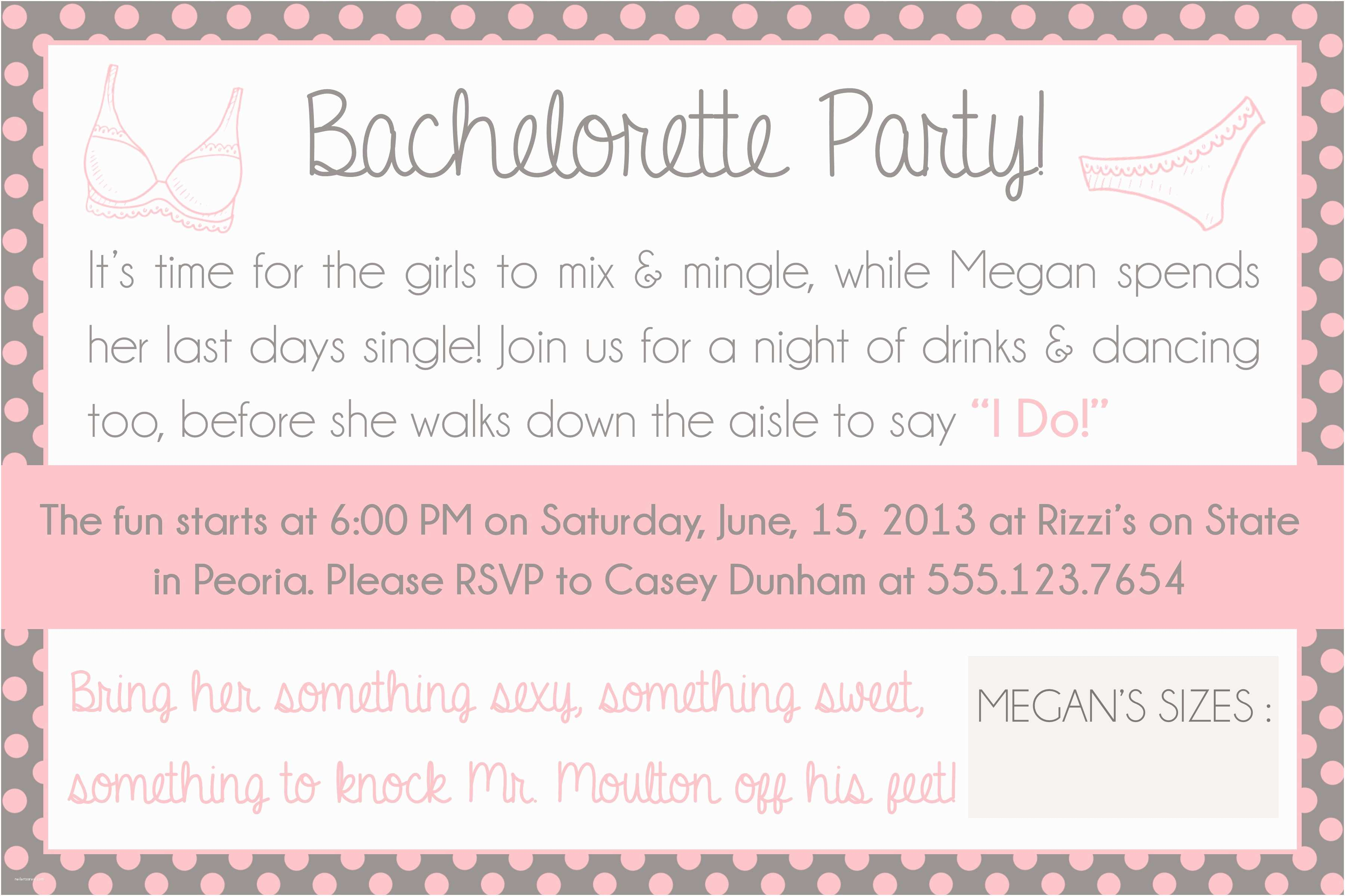 perfect simple bachelorette party invitation and black fonts sets