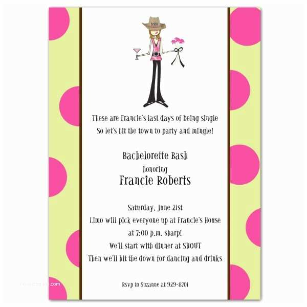 Bachelorette Party Invitations Cowgirl with Dots Bachelorette Party Invitations