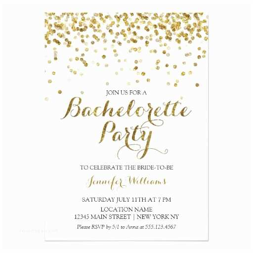 Bachelorette Party Invitations Gold Glitter Confetti Bachelorette Party Invite