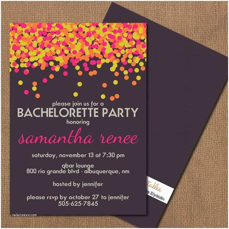 Bachelorette Party Invitations Neon Confetti Bachelorette Party Invitation