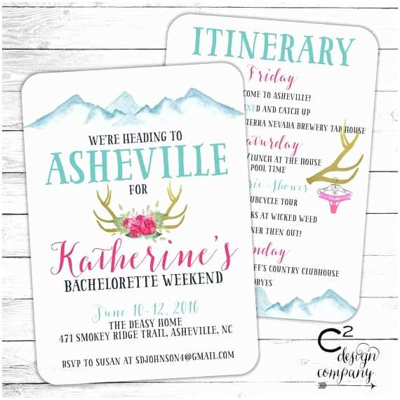 Bachelorette Party Invitations with Itinerary 267 Best Images About Csquared Design Co On Pinterest