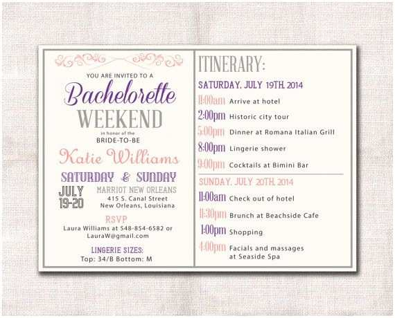 Bachelorette Party Invitations with Itinerary Bachelorette Parties Invitations and Parties On Pinterest