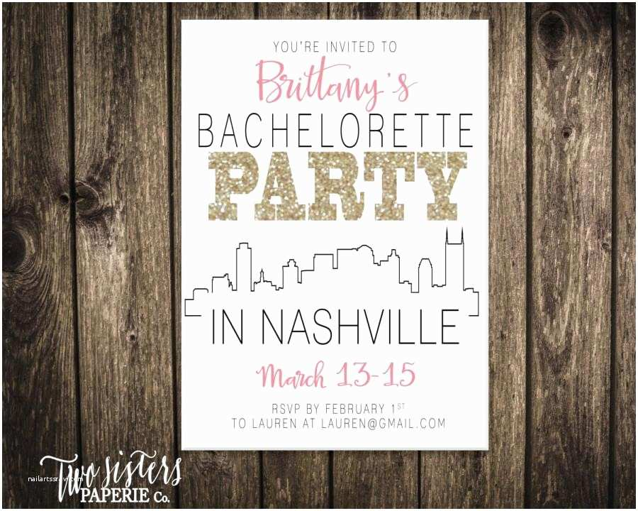 Bachelorette Party Invitations with Itinerary Bachelorette Party Invitation and Itinerary Nashville