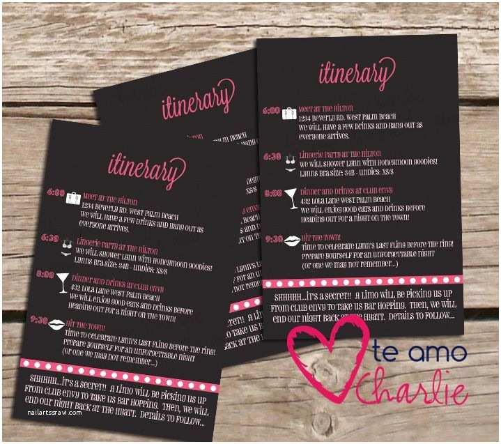 Bachelorette Party Invitations with Itinerary Bachelorette Party Invitations Matching Itinerary