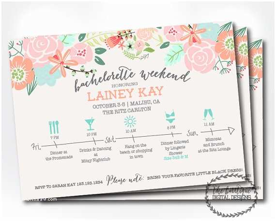 Bachelorette Party Invitations with Itinerary Bachelorette Party Itinerary Invitation Bachelorette