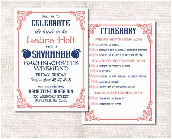 Bachelorette Party Invitations with Itinerary Bachelorette Party Weekend Invitation and Itinerary Custom