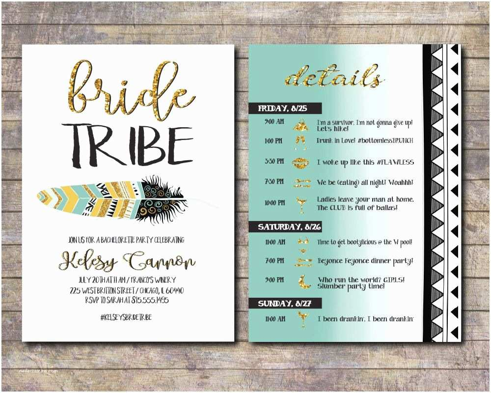 Bachelorette Party Invitations with Itinerary Bride Tribe Bachelorette Party Invite Tribal