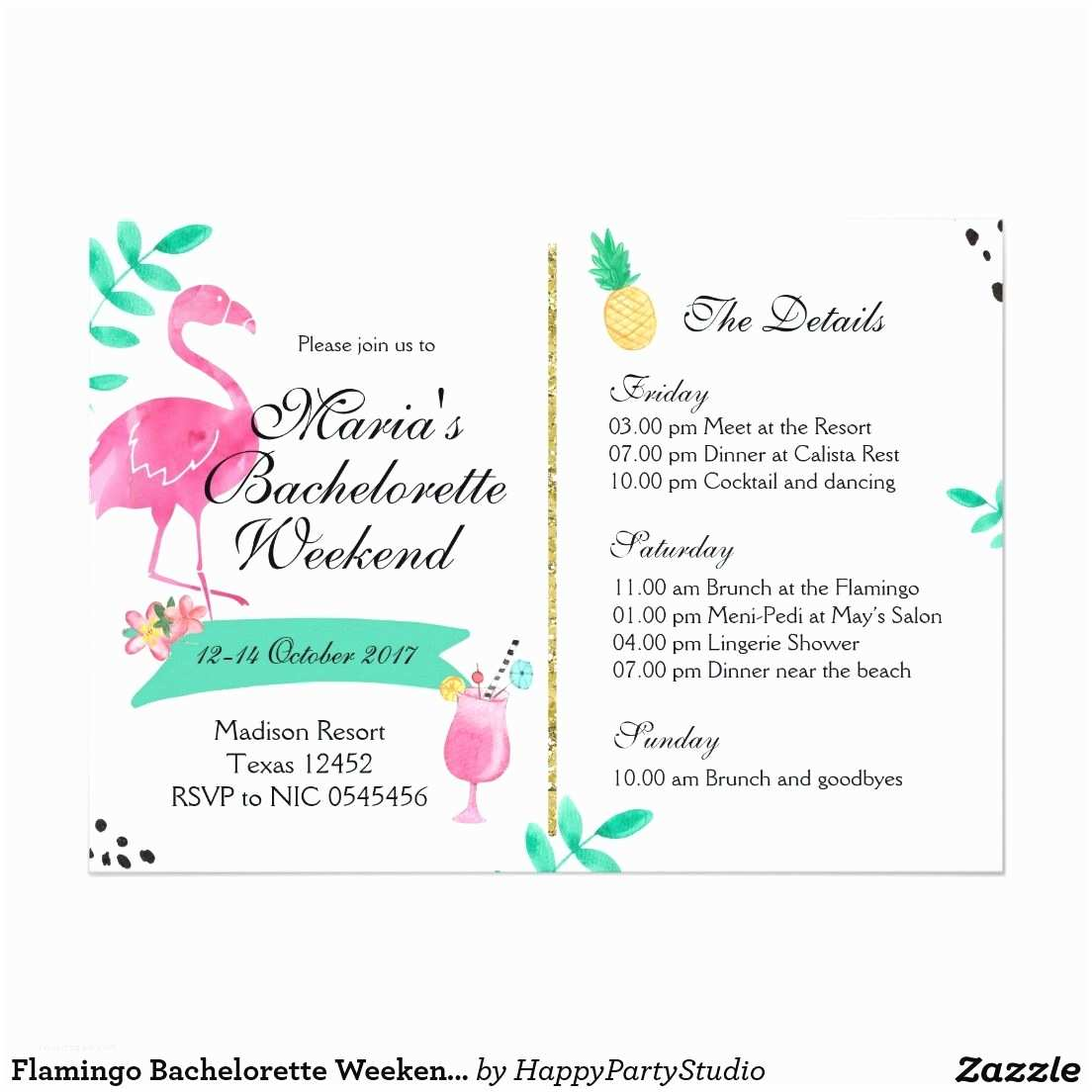 Bachelorette Party Invitations with Itinerary Flamingo Bachelorette Weekend Itinerary Invitation