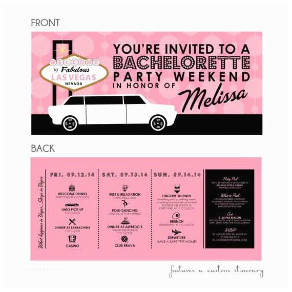 Bachelorette Party Invitations with Itinerary Las Vegas Bachelorette Party Weekend Invitation with