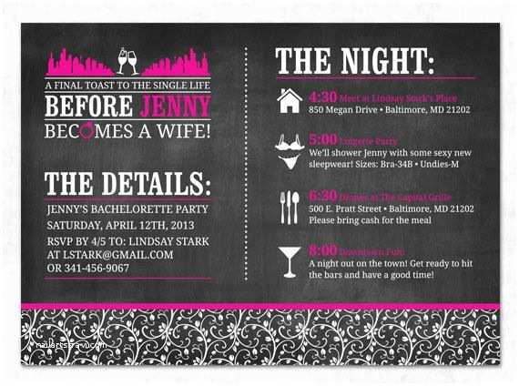 Bachelorette Party Invitations with Itinerary Printable Bachelorette Invitation Chalkboard Lingerie