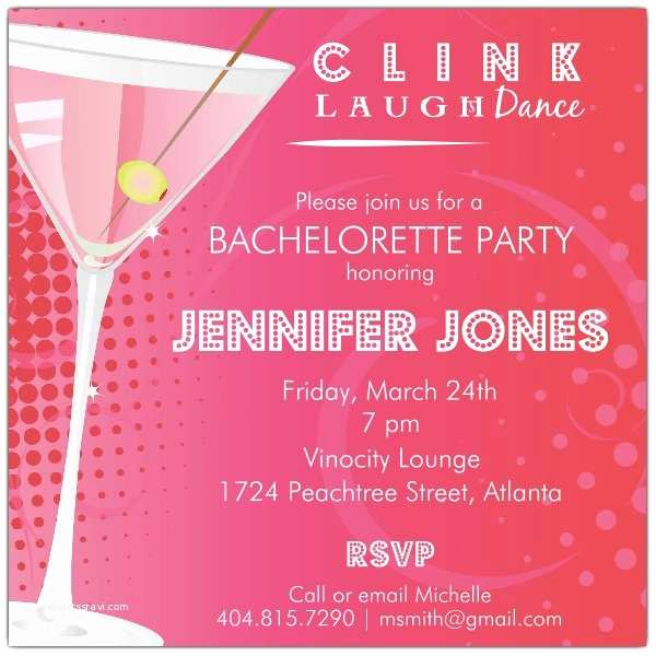 Bachelorette Party Online Invitations Dots Martini Bachelorette Party Invitations
