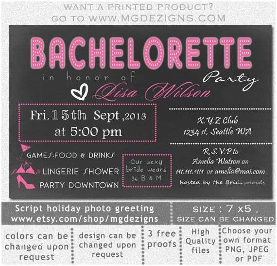 Bachelorette Party Online Invitations Printable Chalkboard Lingerie Shower Bachelorette Party