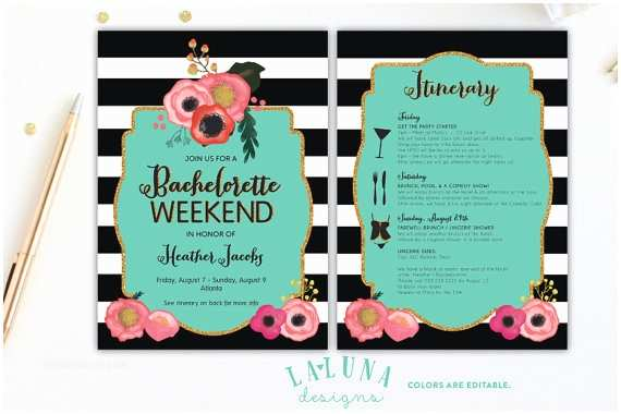 Bachelorette Weekend Invitations Bachelorette Invitation with Itinerary Bachelorette Party