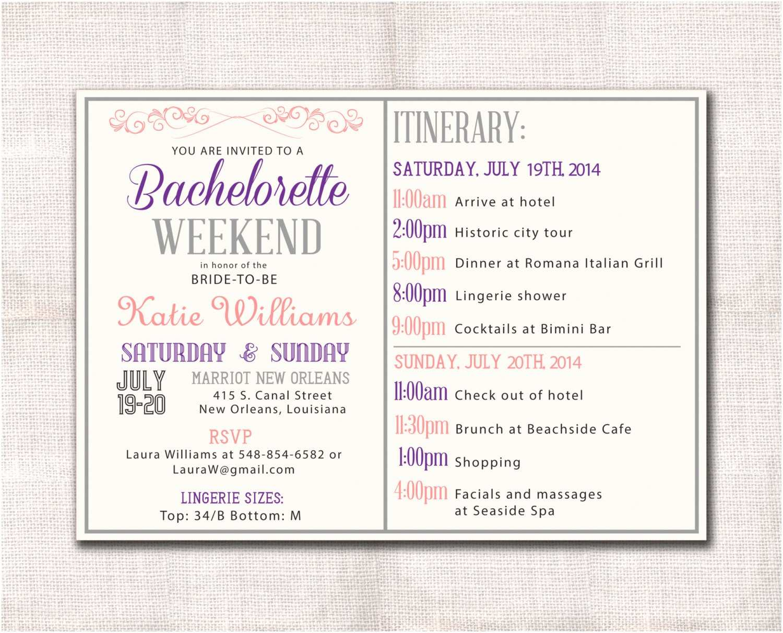 Bachelorette Weekend Invitations Bachelorette Party Weekend Invitation and Itinerary Custom